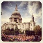 Some of the crowd during the parade outside St Paul's Cathedral
