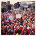 The crowd during the parade at Trafalgar Square
