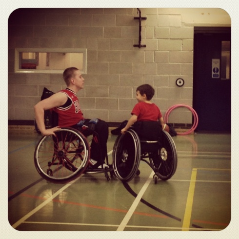 Joshua taking on Jim Palmer, GB Junior at training one day!